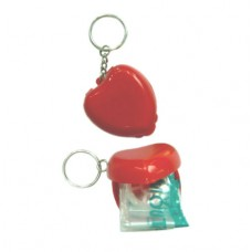 CPR Faceshield with One-Way Valve - Heart Keychain